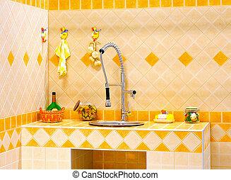 Orange kitchen counter