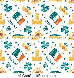 Ireland seamless pattern - Vector seamless pattern with...