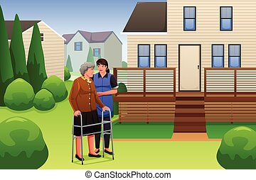Lady Helping Elderly Woman Walking - A vector illustration...