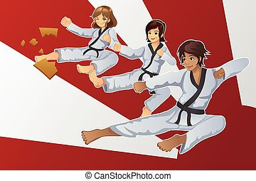Martial Art Banner - A vector illustration of martial art...