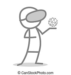 Virtual Reality - Doodle man wearing a virtual reality...