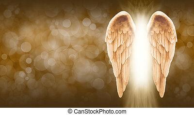Golden Angel Wings Banner - Wide golden brown bokeh...