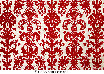 red flock wallpaper pattern - detail of red flock wallpaper...