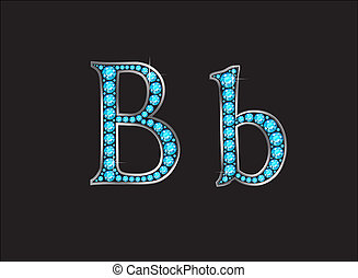 Bb Aquamarine Jeweled Font Jeweled Font with Gold Channels -...