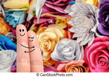 Finger hug against Roses Background