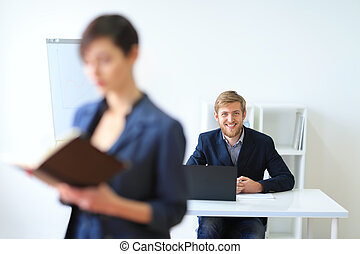 Business people in the office - Business people working in...