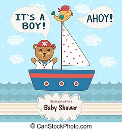 Cute baby shower invitation card It's a boy in nautical...