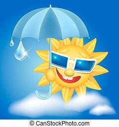Sun in glasses with umbrella and raindrops