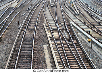 railroad tracks in the main station of Hamburg