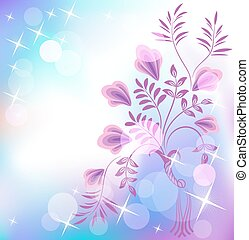Floral background with boke and shiny stars