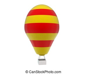 3d hot air balloon concept in white isolated background - 3d...