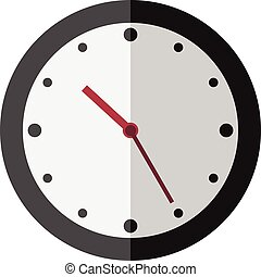 Flat style clock isolated - Beautiful flat style clock...