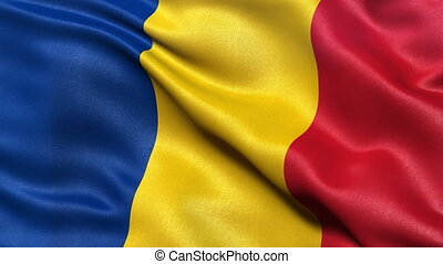 Romania flag seamless loop - Realistic flag of Romania...