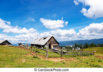 A household with an old wooden barn in the mountains