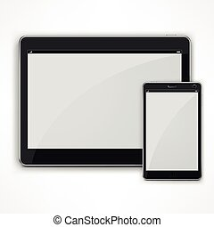 Realistic modern tablet on white