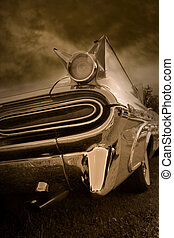 Tail end of classic car in sepia color tone