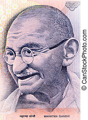 Gandhi - Close up shot of Gandhi on Indian rupee note