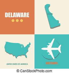 Delaware flat - flat design with map Delaware concept for...