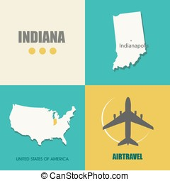 Indiana flat - flat design with map Indiana concept for air...