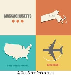 Massachusetts flat - flat design with map Massachusetts...