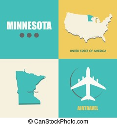 Minnesota flat - flat design with map Minnesota concept for...