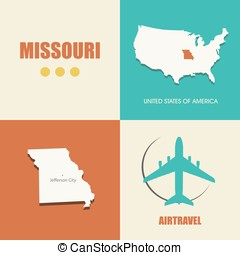 Missouri flat - flat design with map Missouri concept for...