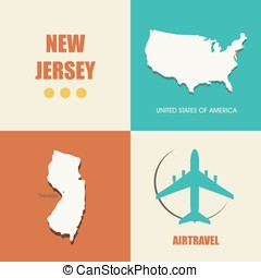New Jersey flat - flat design with map New Jersey concept...