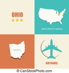 Ohio flat - flat design with map Ohio concept for air travel