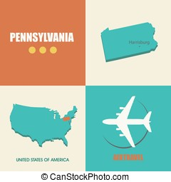 Pennsylvania flat - flat design with map Pennsylvania...
