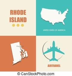 Rhode Island flat - flat design with map Rhode Island...