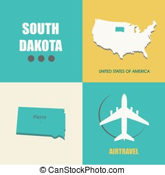 South Dakota flat - flat design with map South Dakota...