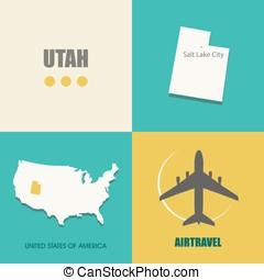 Utah flat - flat design with map Utah concept for air travel