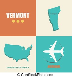 Vermont flat - flat design with map Vermont concept for air...