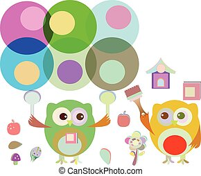 vector two cute owl painter
