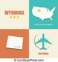 Wyoming flat - flat design with map Wyoming concept for air...