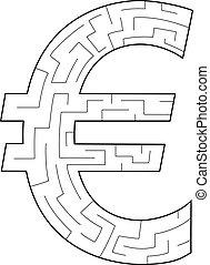 Euro Labyrinth - a silhouette of the euro symbol as a maze