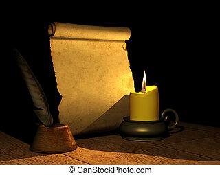 płonący, świeca, starożytny, rękopis