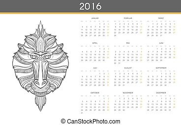 Modern calendar 2016 with monkey in German. Ready for print