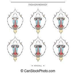 Isolated set monkey muzzles in linear style and different...