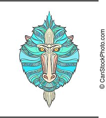 Monkey coloring outlines in boho style Ethnic hare Mandrill...