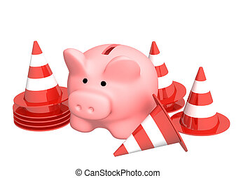 Piggy bank and traffic cones Isolated over white