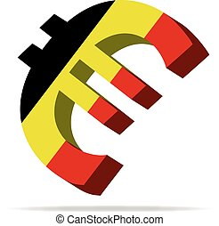 Belgium Euro symbol - 3D Illustration of the Euro Symbol...