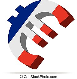 France Euro symbol - 3D Illustration of the Euro Symbol with...