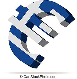 Greece Euro symbol - 3D Illustration of the Euro Symbol with...