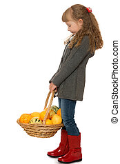 Little girl with basket - Elegant little girl in autumn...