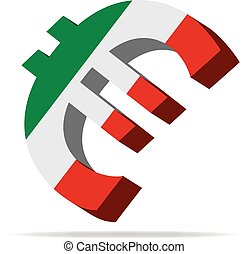 Italy Euro symbol - 3D Illustration of the Euro Symbol with...