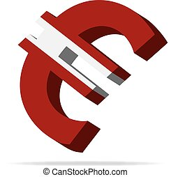 Latvia Euro symbol - 3D Illustration of the Euro Symbol with...