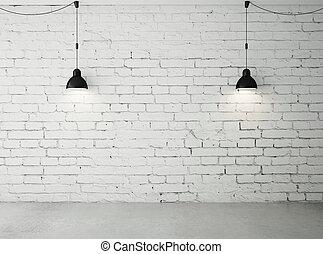 habitación, con, dos, lámparas,