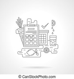 Sport nutrition detail line vector icon