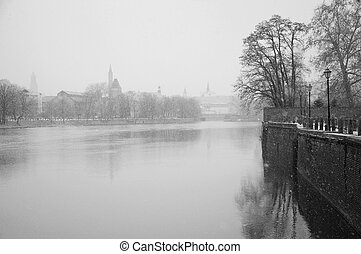 Wroclaw - Old Town in the morning on the river Odra....